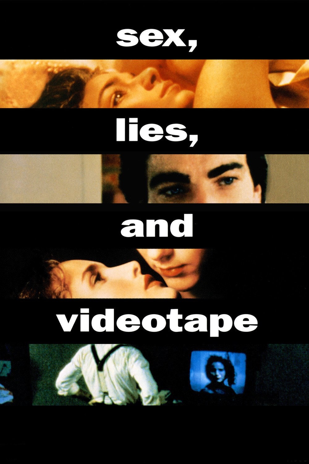 The movie poster of sex, lies and videotape, showing images of the cast intercut with thick black lines
