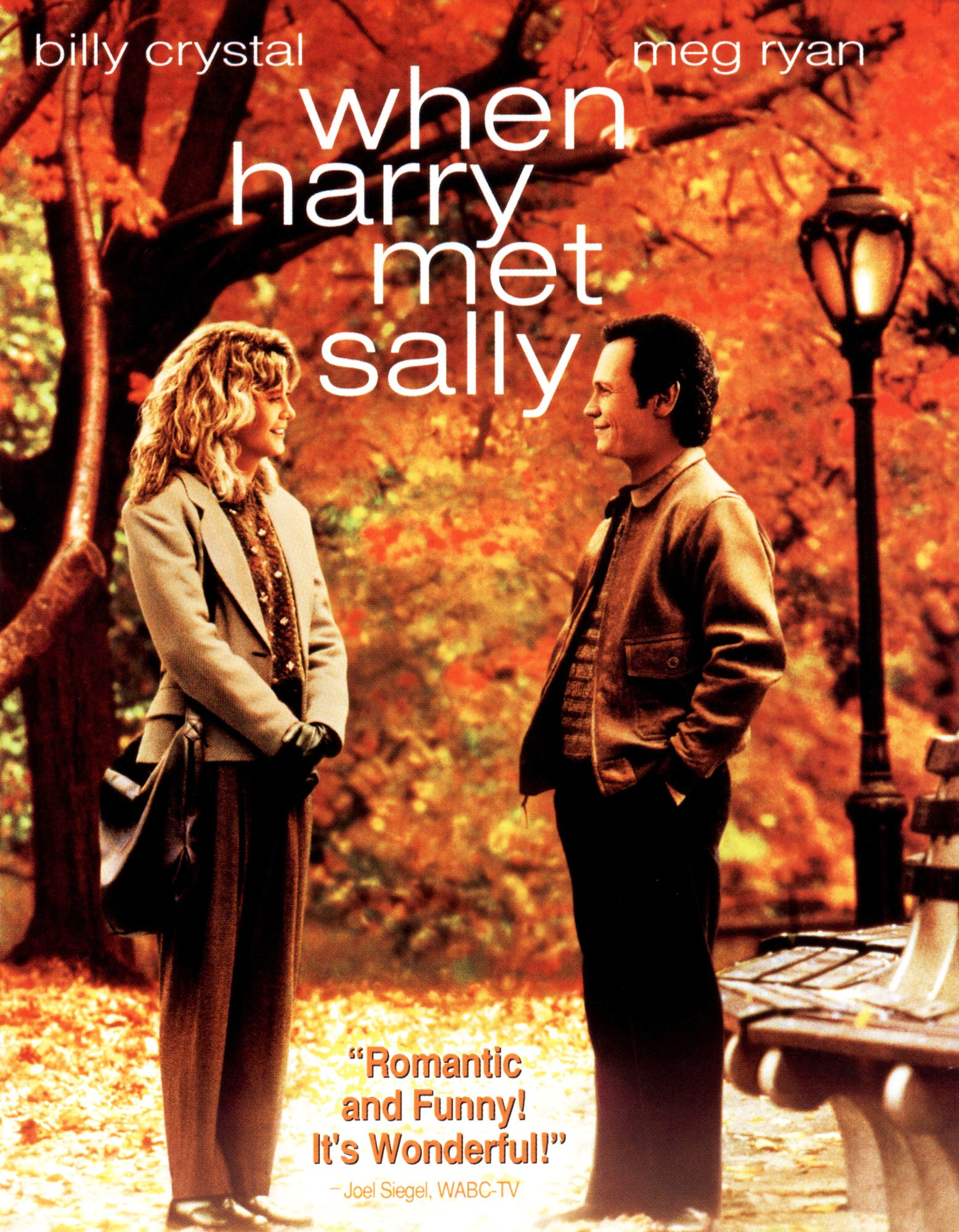 The poster for When Harry Met Sally with Ryan and Crystal looking at each other in Central Park