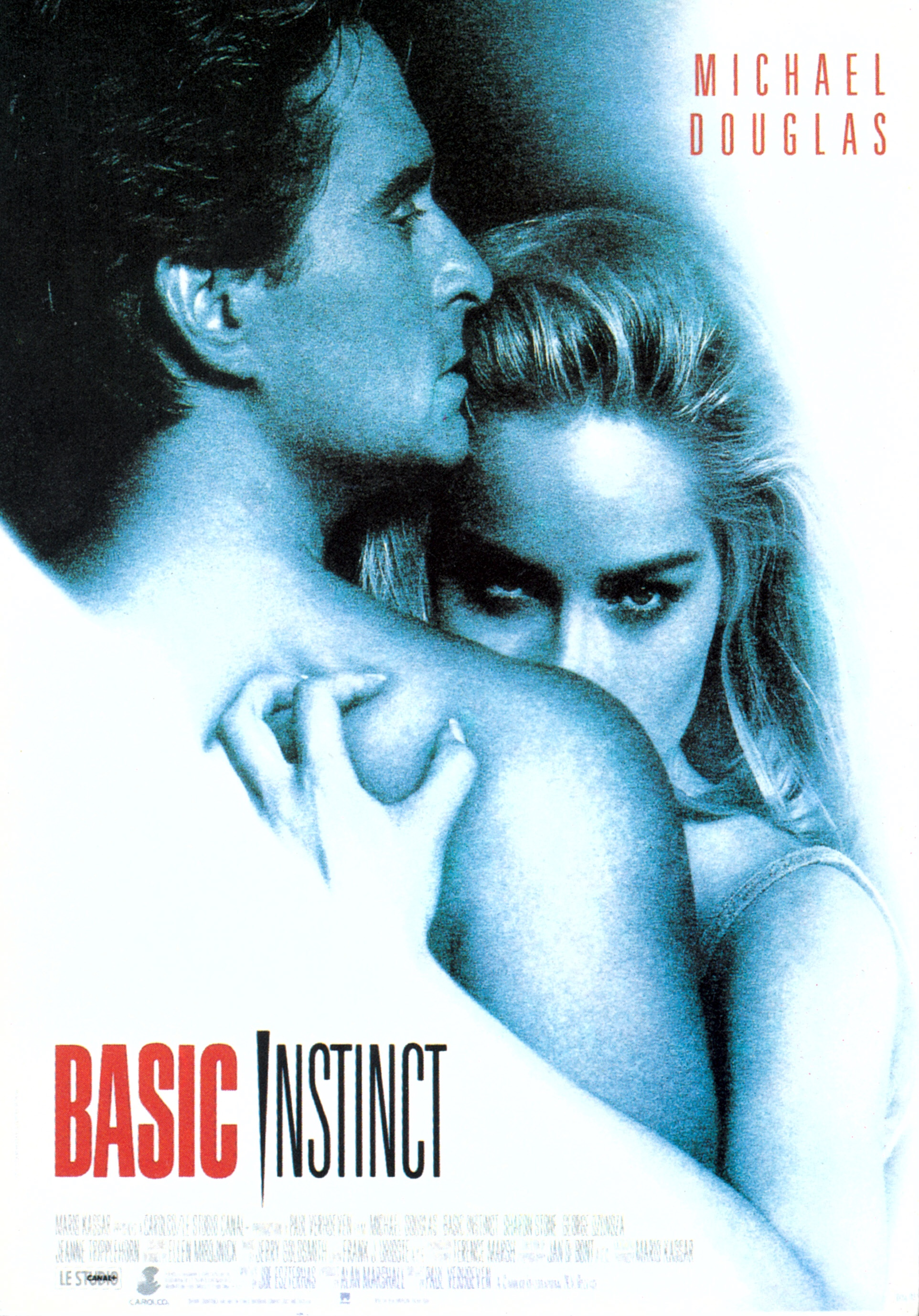 The poster for Basic Instinct - Michael Douglas looking over to the right with Sharon Stone glaring over his shoulder