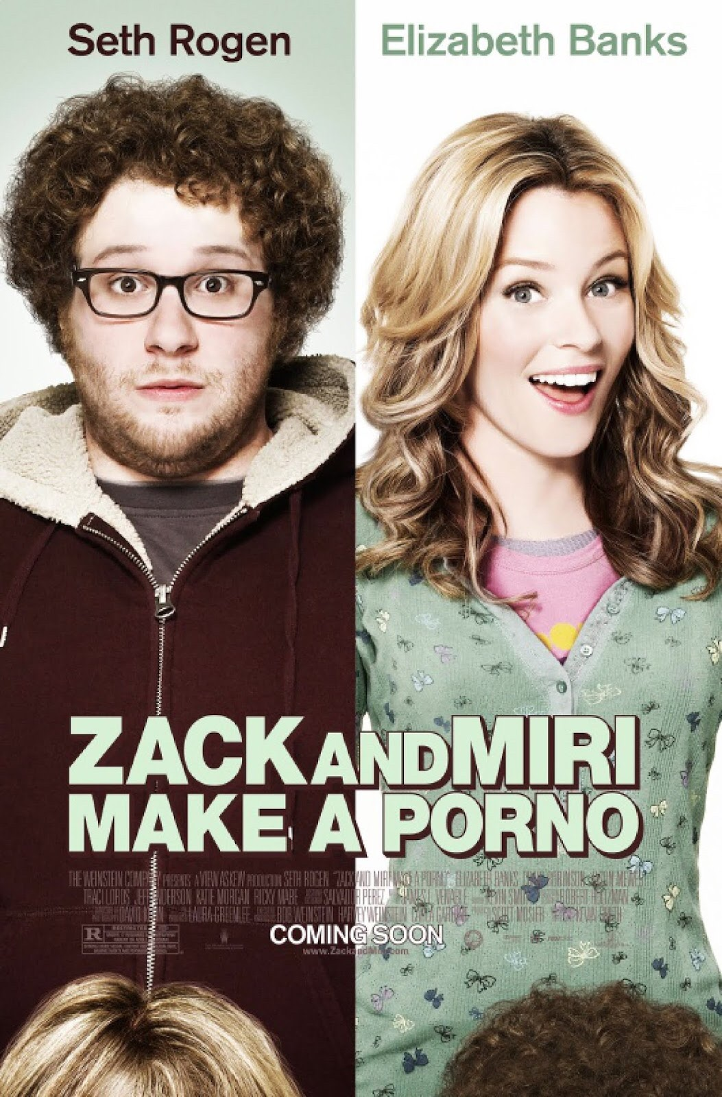 The poster for Zack and Miri make a porno, with Seth Rogen looking worried standing next to Elizabeth Banks who is looking coquettish