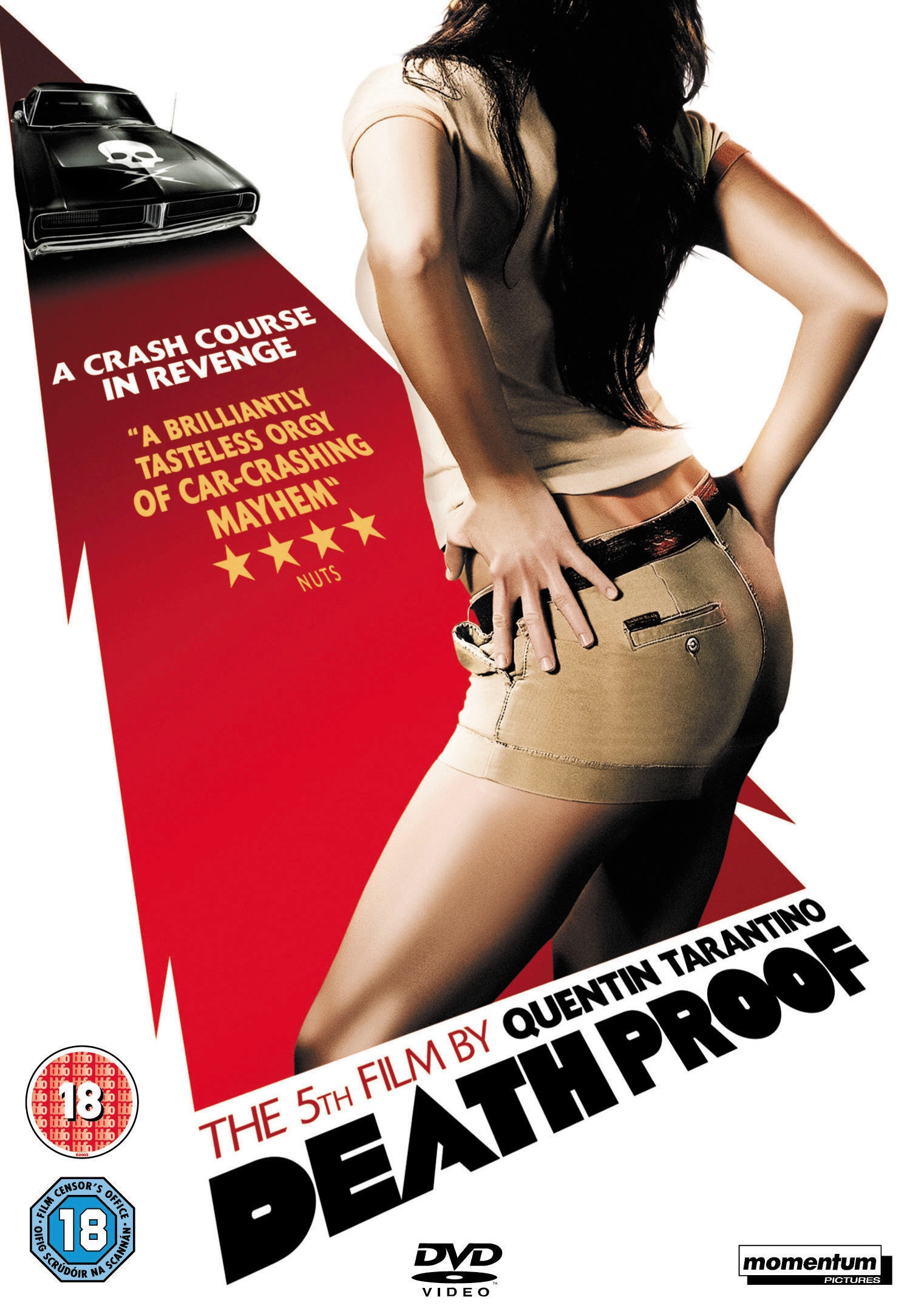 The Death Proof poster showing the muscle car in the top left corner and a headless woman in short shorts is in the bottom right corner
