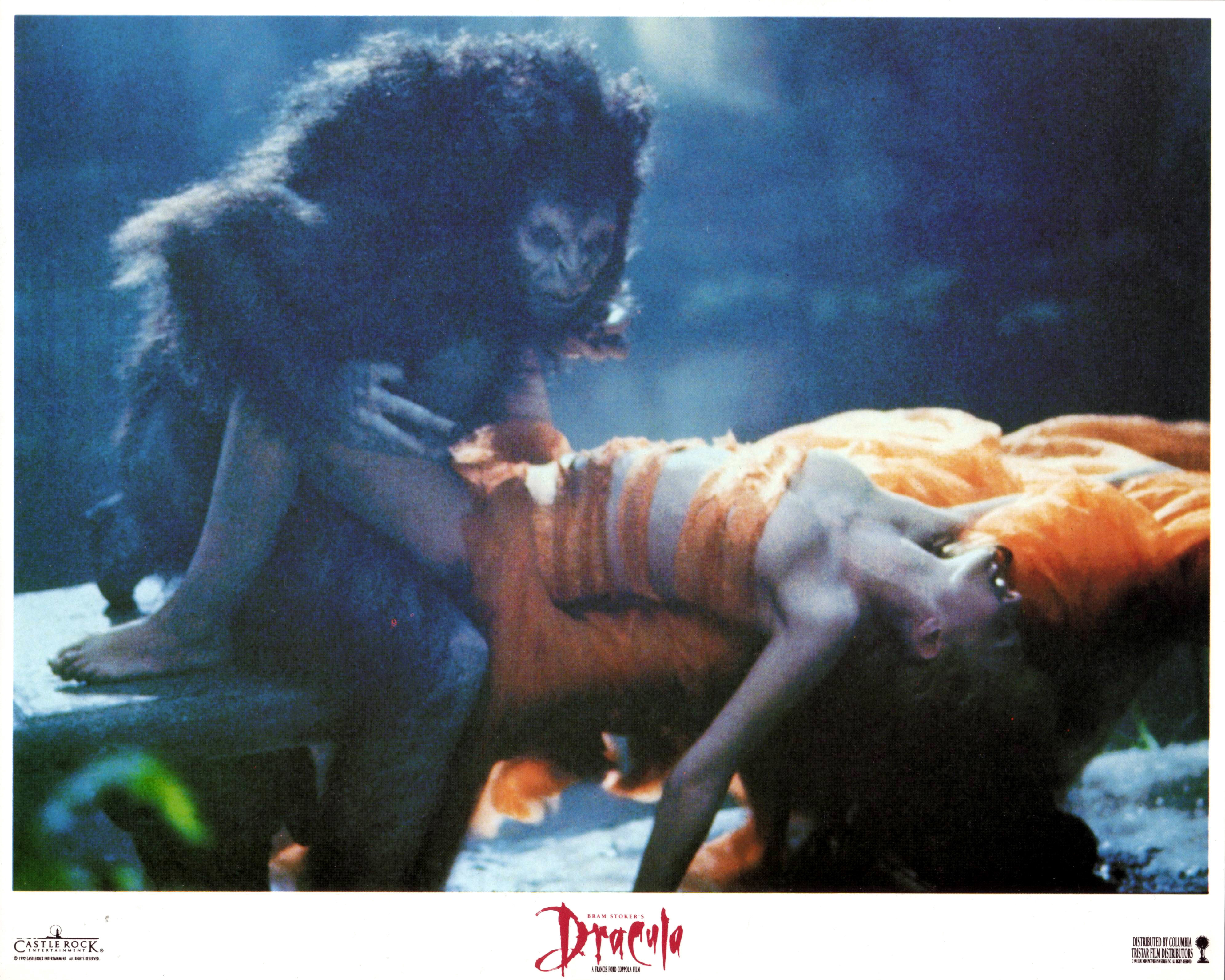 Image from Dracula showing Dracula in his wolf form mounting a scantily clad Frost