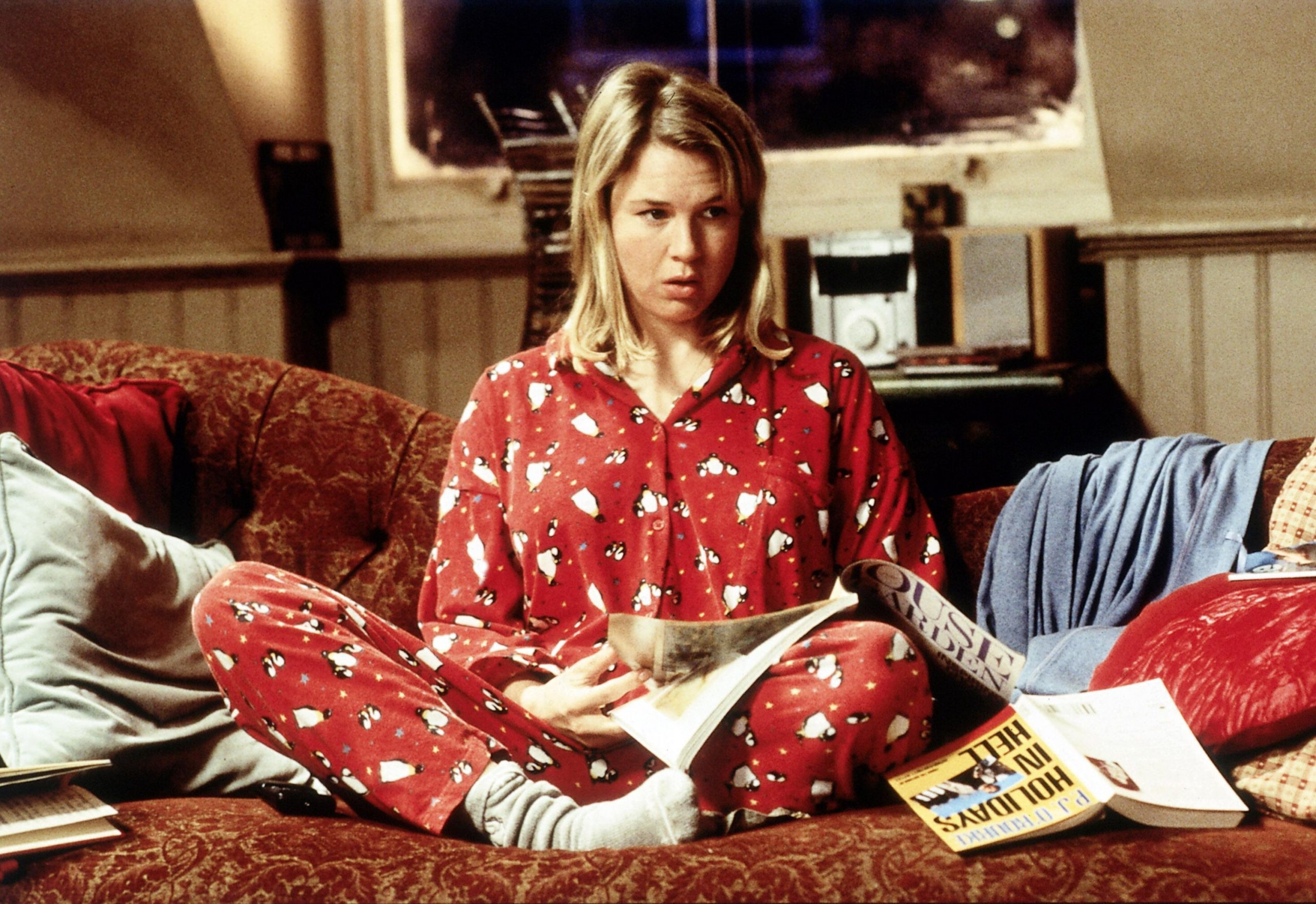 An image from Bridget Jones's Diary showing Bridget in her pyjamas