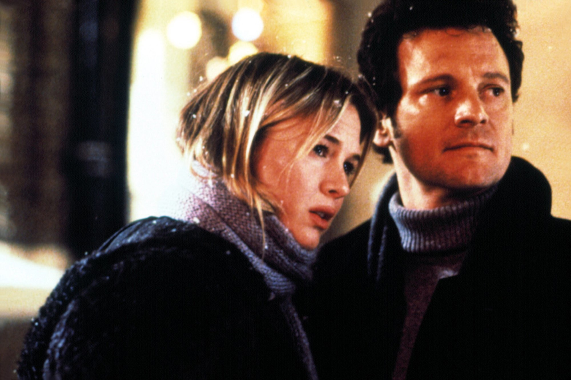 An image from Bridget Jones's Diary showing Bridget and Darcy in the snow