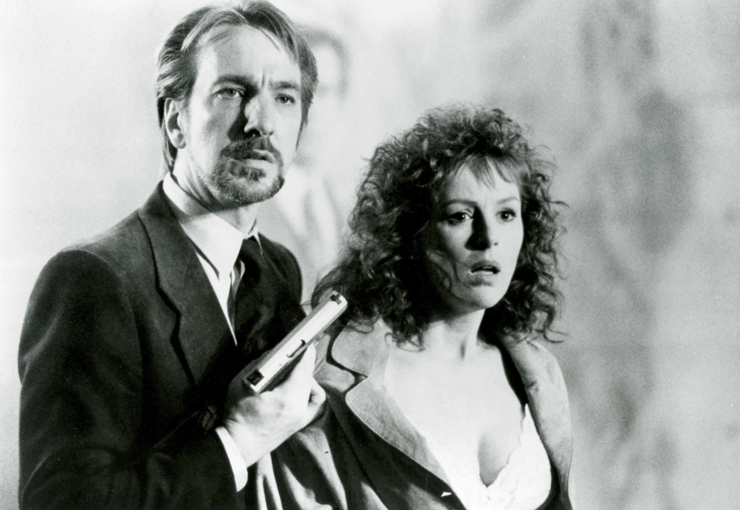 A black and white image from Die Hard of Gruber and Holly