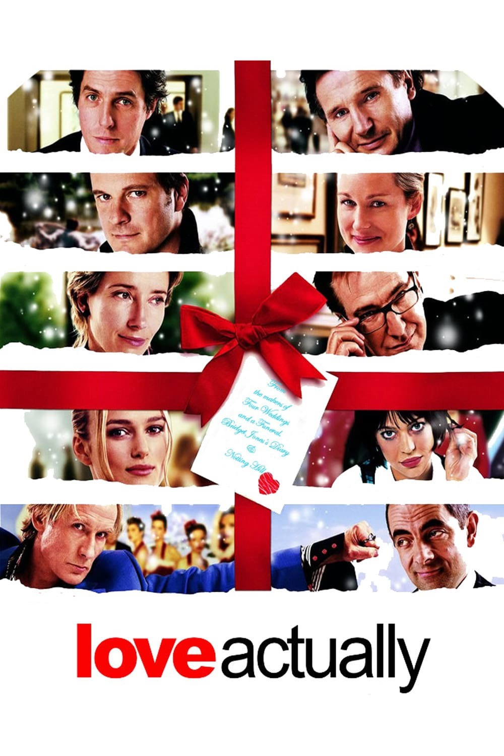 The poster for Love Actually showing photos of the main characters surrounded by ribbon