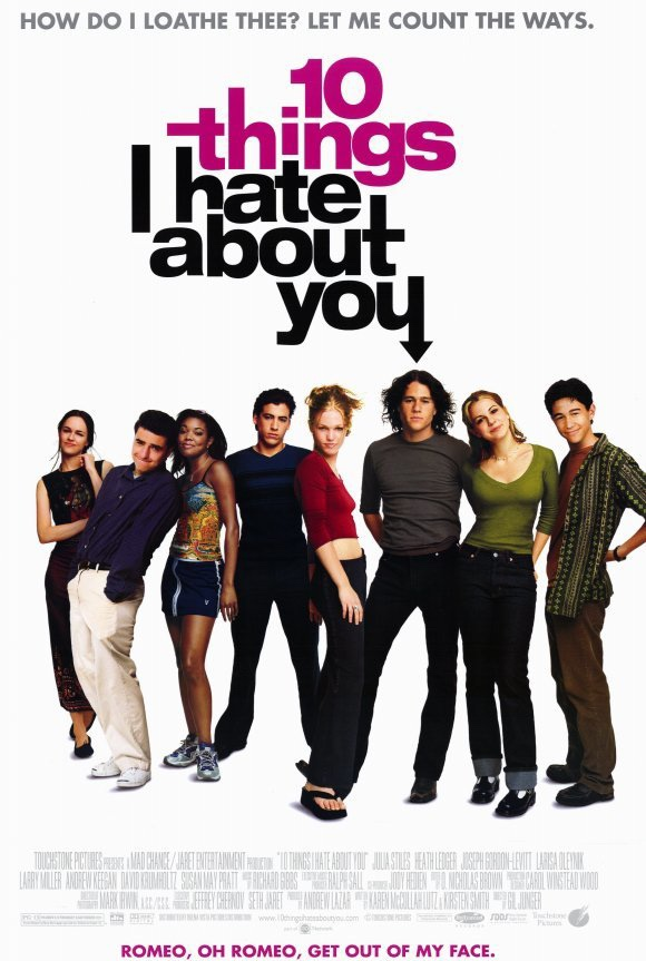 The poster for 10 Things I Hate About You showing the cast