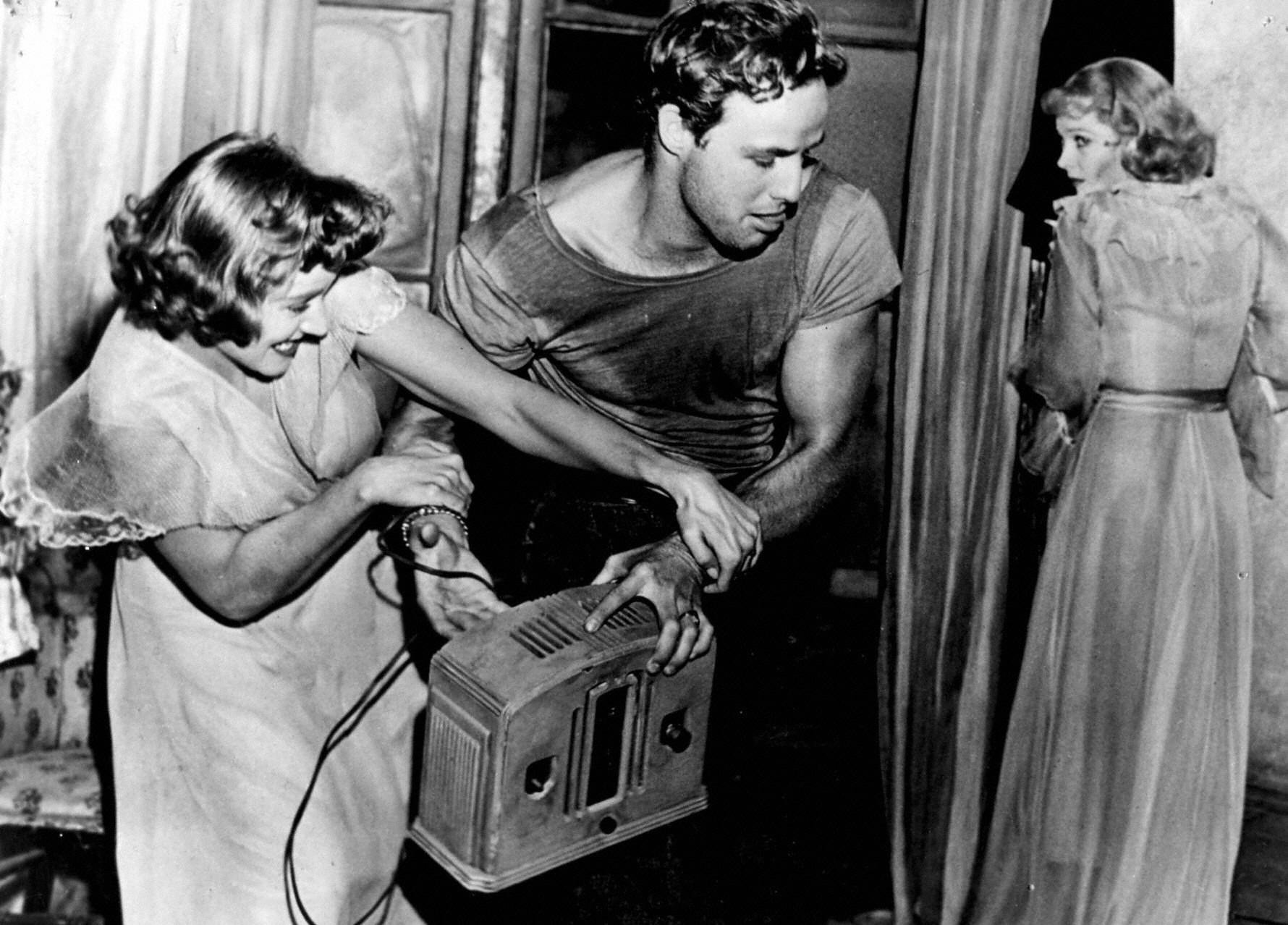An image from A Streetcar Named Desire of a fight