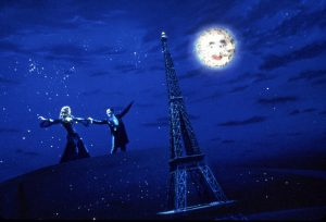 Satine and Christian dancing above Paris
