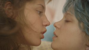 A close up of Adele and Emma as they are about to kiss from Blue is the Warmest Colour