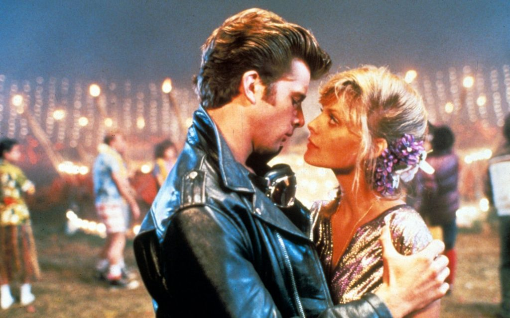 Michael and Stephanie, kissing, in Grease 2