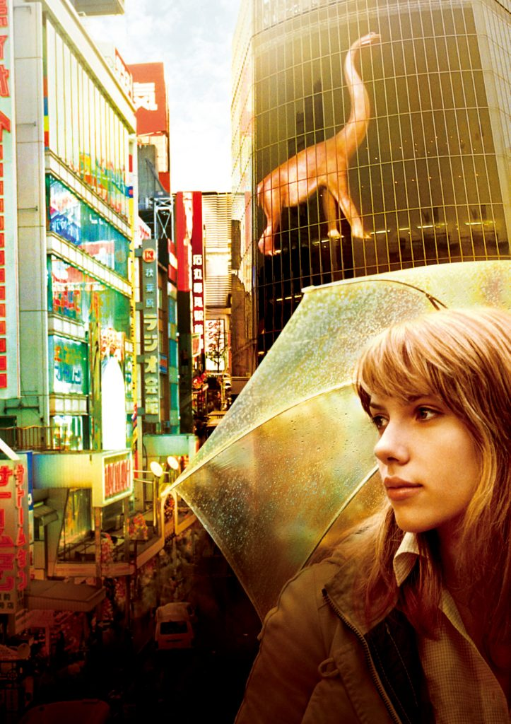 A stylised image of Charlotte in Tokyo from Lost in Translation