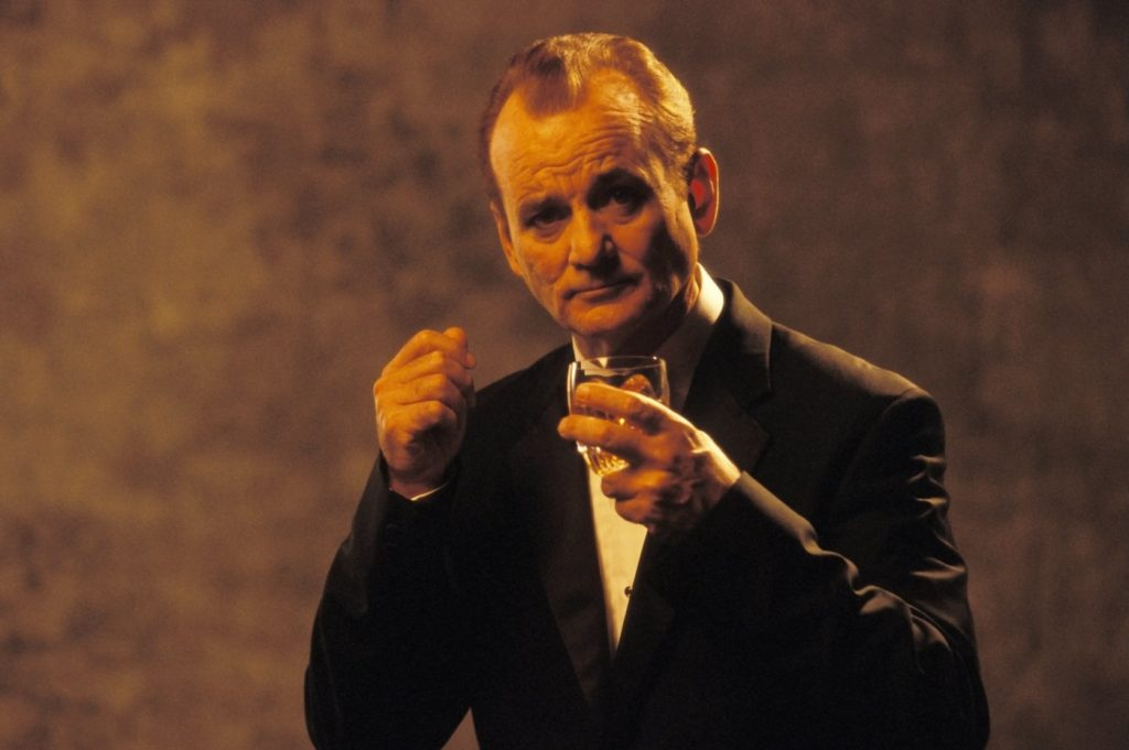 The famous image from Lost in Translation of Bob, drinking whisky and looking at the camera for an advert.